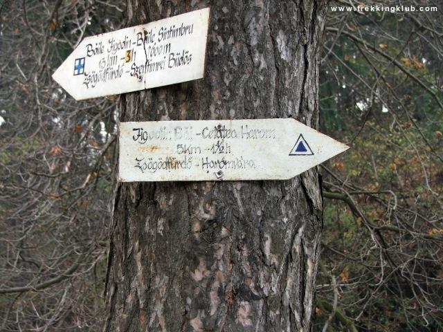 A zsögödfürdői borvíz csorgója melletti kis park egyik fáján levő jelzőtábla. - Harom vára